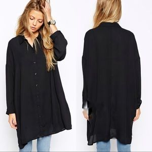 ASOS | Black Oversized Sheer Button Up Blouse 18